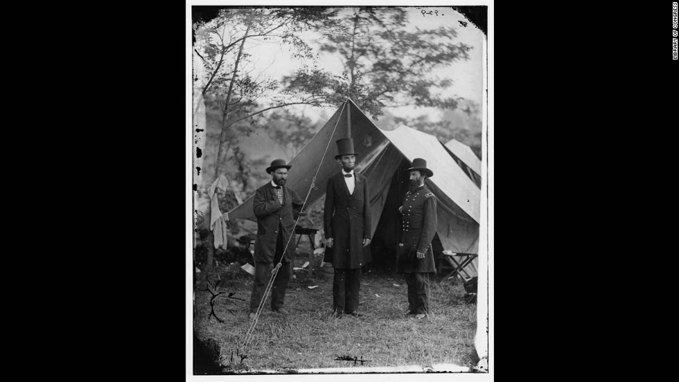 The top hat and President Abraham Lincoln are forever linked. He's pictured with Allan Pinkerton, left, and Maj. Gen. John A. McClernand at Antietam in Maryland.