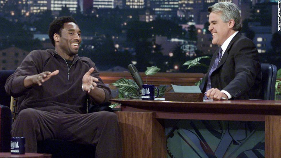 "Bryant appears on ""The Tonight Show with Jay Leno"" at NBC Studios on June 28, 2001, in Burbank, California."