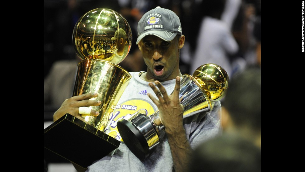 Bryant celebrates after game five of the NBA Finals against the Orlando Magic at Amway Arena on June 14, 2009, in Orlando. The Lakers won 99-86 for their 15th title and first since 2002. Bryant had 30 points, 8 rebounds and 6 assists as the Lakers completed a four-games-to-one victory in the best-of-seven NBA Finals.