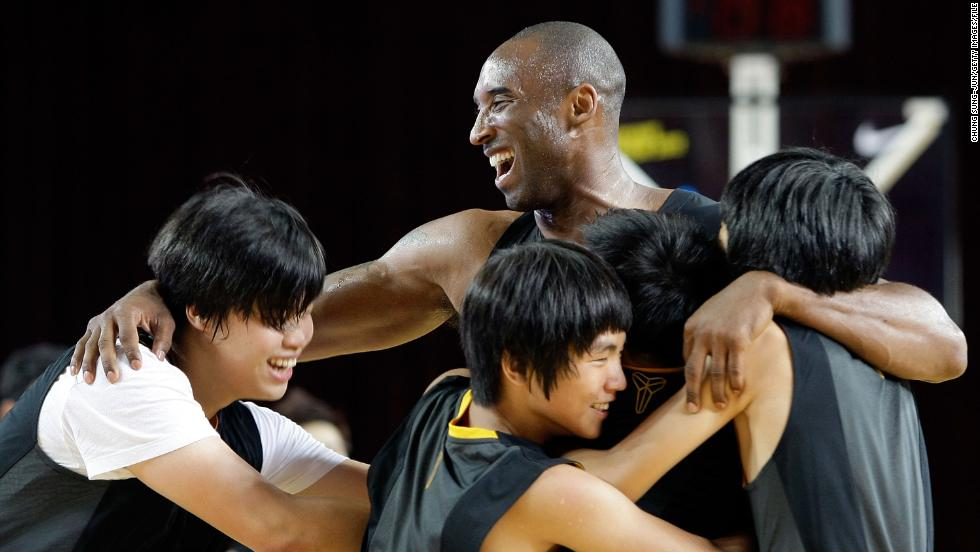 Bryant joins a teaching session for fans during a promotional tour of South Korea at Korea University on July 14, 2011, in Seoul.