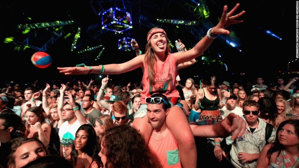 Guests attend Day One of the Coachella festival.