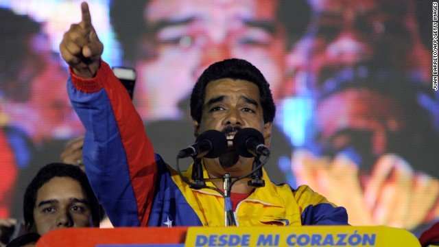 Venezuelan President elect Nicolas Maduro addresses supporters in Caracas on Sunday, April 14.