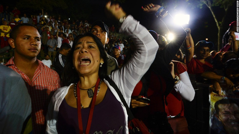 Supporters of Maduro celebrate after the election results were announced in Caracas.
