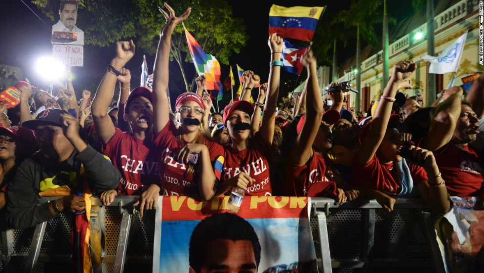 Maduro supporters celebrate in Caracas.