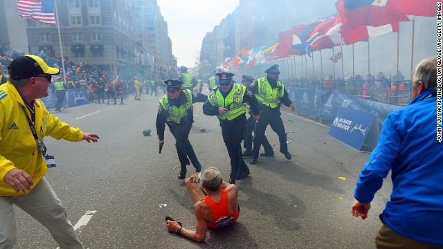 The first explosion at the Boston Marathon knocked down 78-year-old runner Bill Iffrig at the finish line. He got up and finished.