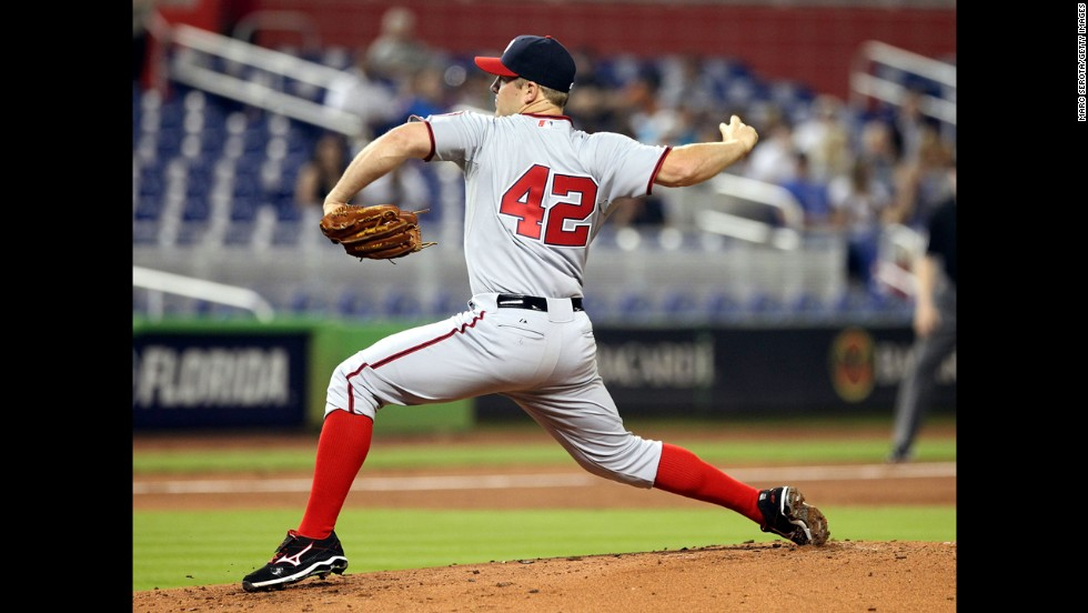 Pitcher Jordan Zimmermann of the Washington Nationals throws against the Miami Marlins at Marlins Park in Miami.