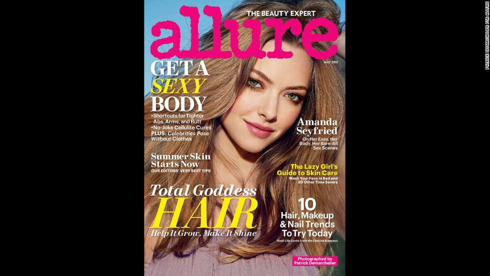 "Amanda Seyfried doesn't hold back in the May issue of Allure magazine. Although she doesn't go nude, <a href=""http://www.allure.com/celebrity-trends/2013/naked-celebrities-photos-allure-may-2013#slide=4"" target=""_blank"">like some other stars in the issue</a>, she does speak frankly about her body. ""I saw a picture a couple of days ago from when I was 19, and my boobs were way bigger,"" she said. ""There was something so beautiful about the size of them. When I look back, I'm like, 'Why did I always give myself such a hard time?' Nobody gave me s*** about it except me."""