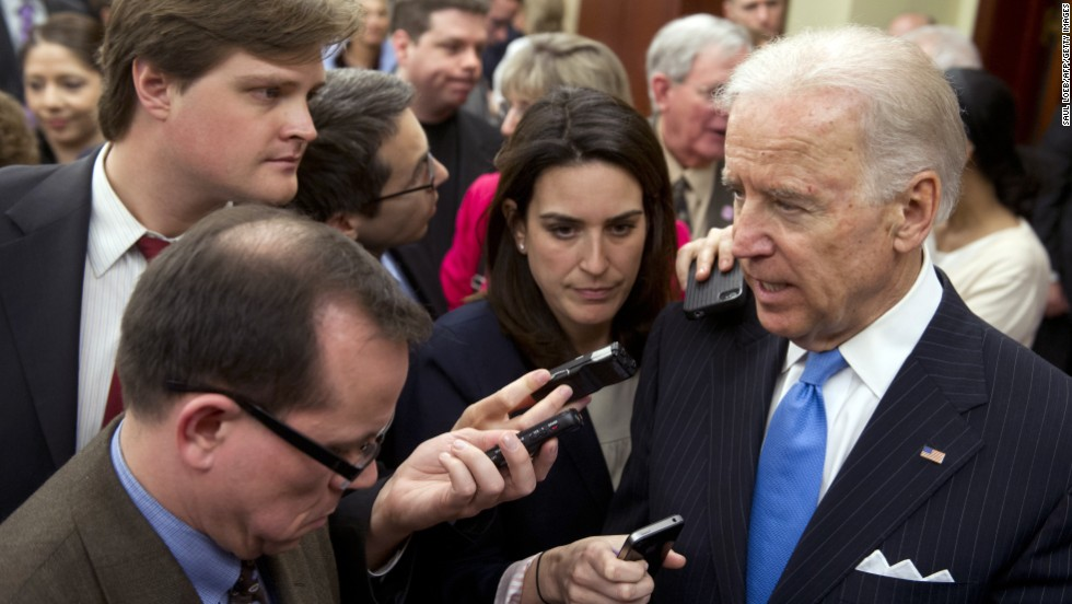 Vice President Joe Biden speaks to reporters about the bombings at the Boston Marathon in Washington on Tuesday, April 16.