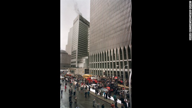 NEW YORK, NY - FEBRUARY 26:  Firefighters and rescue crews work outside the World Trade Center after smoke swept through the 110-story building after the ceiling of a train station collapsed 26 February 1993. MARIA BASTONE/AFP/Getty Images)