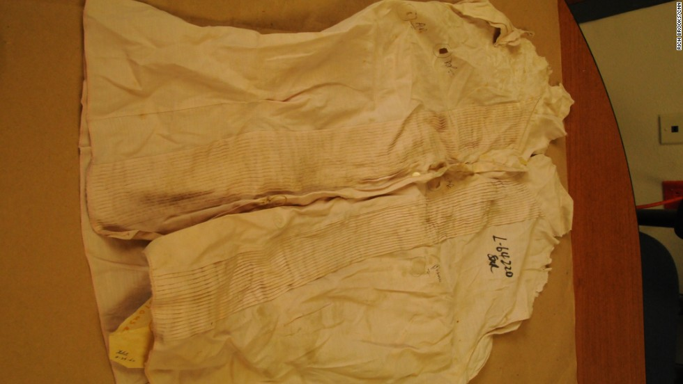 "Police evidence in the investigation included Garza's blouse, seen here. Garza's death certificate states that her cause of death was ""trauma to the right side of her head"" causing ""hemorrhage of the brain"" and ""suffocation."""