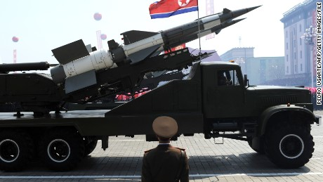 A missile is displayed during a military parade to mark 100 years since the birth of North Korea's founder Kim Il-Sung in Pyongyang on April 15, 2012.