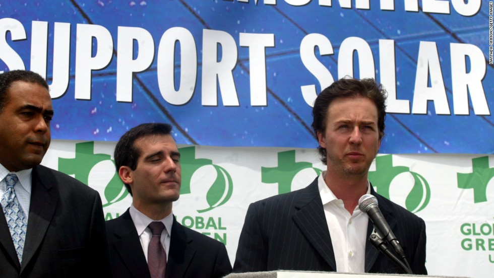 "Actor Edward Norton ran a marathon to support conservation in the east African grasslands. He has also campaigned for sustainable energy and served as a United Nations goodwill ambassador for biodiversity. ""I think catastrophic events like what's happening in the Gulf with the oil spill do highlight for people that there is enormous ramification for human well-being through a loss of biodiversity,"" <a href=""http://www.cnn.com/2010/WORLD/americas/07/08/un.norton.goodwill.ambassador/index.html"">Norton said in 2010</a>."
