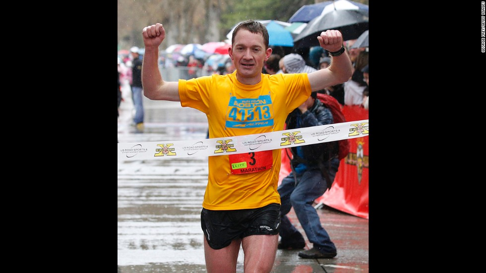 Bryant Jensen, wearing a shirt honoring the Boston bombing victims, wins the Salt Lake City Marathon on Friday.