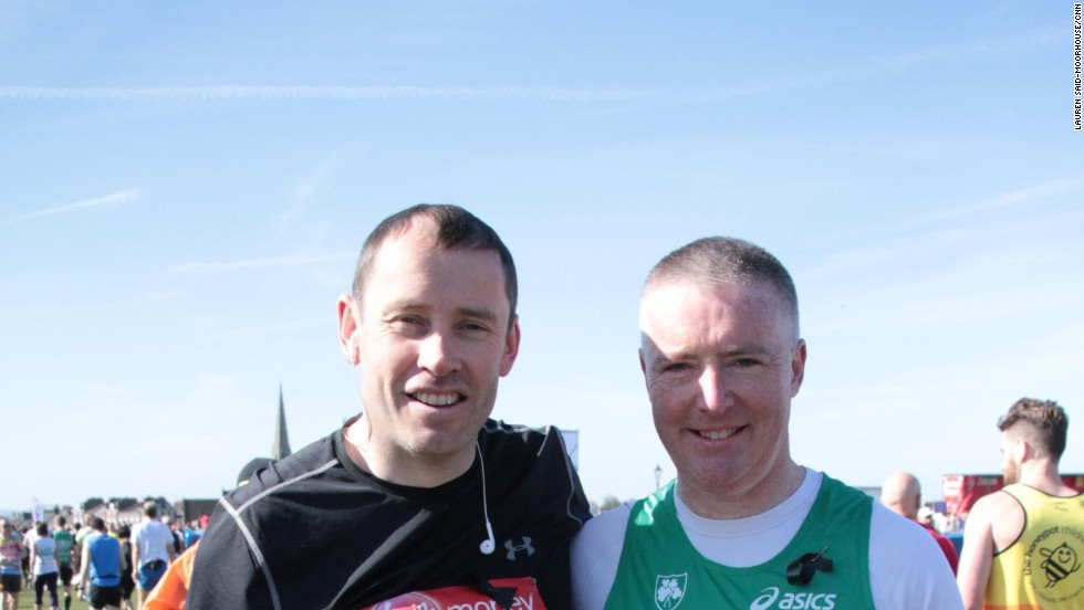 John O'Flynn (L) and John Gately (R) came from Cork, Ireland to participate in the London Marathon on April 21, 2013. Both have family in Boston but were not planning on competing, due to injury, until last week's tragic event changed their mind. O'Flynn said they wanted to compete to show solidarity to the people of Boston.