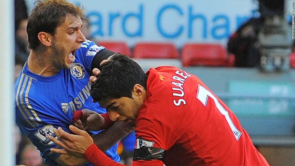 Suarez also bit Chelsea defender Branislav Ivanovic during an English Premier League match at Anfield in April 2013.