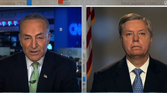 Senators Chuck Schumer, left, and Lindsey Graham appear on CNN's State of the Union on Sunday.