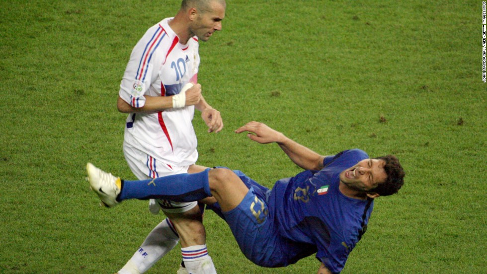 Zinedine Zidane. a world and European champion and a three-time FIFA World Player of the Year, ended his career in infamy at the 2006 World Cup. With the scores level at 1-1 in the final between France and Italy, the playmaker headbutted Italy's Marco Materazzi and was given a straight red card. France went on to lose the match on penalties and Zidane never played again. Materazzi later admitted to provoking Zidane by making remarks about his mother and sister.