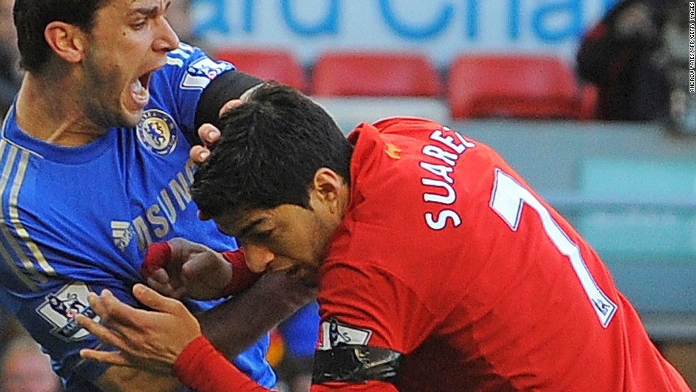"Liverpool's <a href=""http://www1.skysports.com/watch/video/sports/football/8663783/suarez-biting-incident"" target=""_blank"">Luis Suarez has been banned for 10 games by the English Football Association for biting Chelsea's Branislav Ivanovic</a> during Sunday's match at Anfield. It was the latest example of a player displaying questionable behavior in front of a vast array of television cameras. As football coverage has grown over the last two decades, so has the scrutiny placed on the stars of the ""beautiful game."" In this gallery, CNN highlights times when players have seemingly forgotten the eyes of the world are watching..."