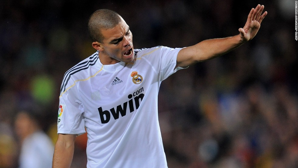 Real Madrid defender Pepe has a notoriously short fuse. The Portuguese star was handed a 10-match ban in April 2009 for violent conduct, after kicking Getafe's Javi Casquero in the back while he lay on the floor. Moments before, Pepe had brought down Casquero to concede a penalty.