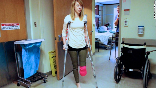 Adrianne Haslet-Davis plans to go from crutches to a prosthetic leg and back to the dance floor.