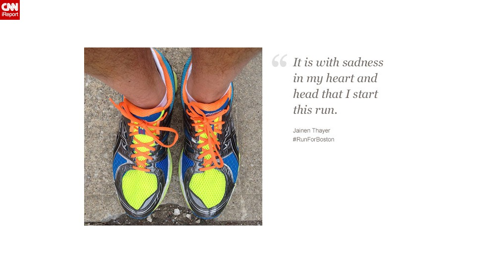 "After watching the ""completely unreal"" events unfold in Boston, New York resident and Boston native Jainen Thayer decided to run ""to begin to heal."""