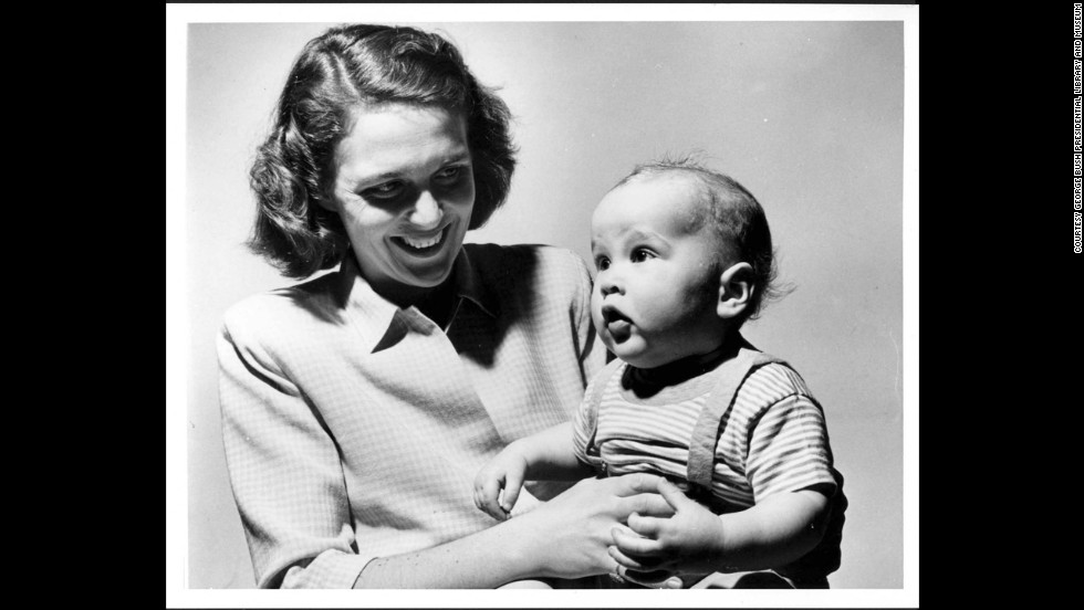 Barbara Bush Holds George W Circa 1947