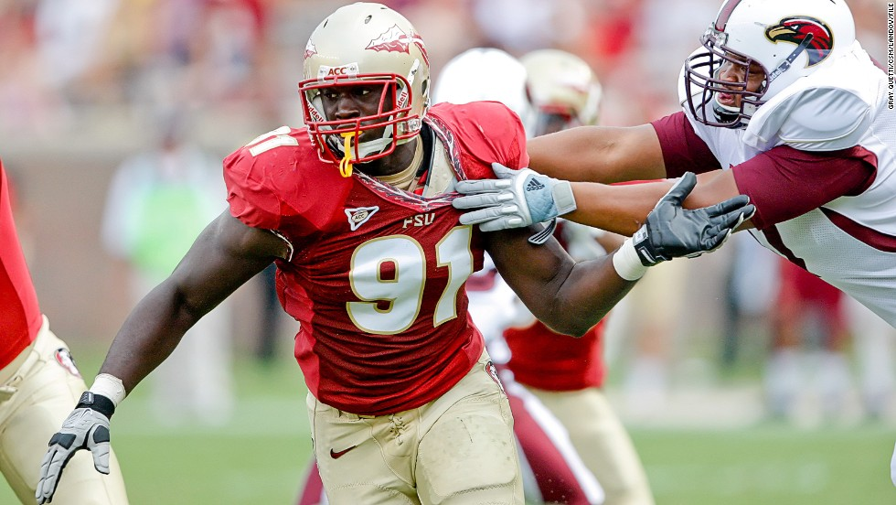 Florida State defensive end Cornellius Carradine takes on the Louisiana-Monroe Warhawks at Doak S. Campbell Stadium in Tallahassee, Florida, on September 3, 2011.