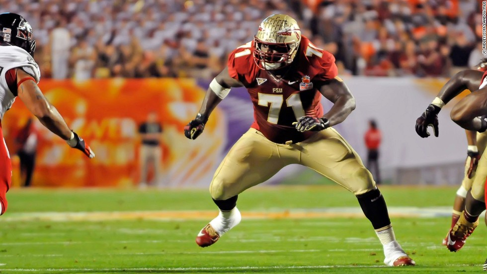 Menelik Watson of Florida State takes on the Northern Illinois Huskies during the 2013 Orange Bowl in Miami Gardens, Florida, on January 1.