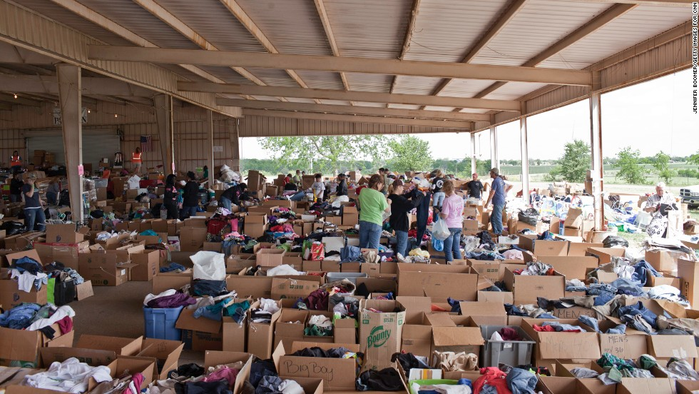 Outsiders have responded to the disaster in West. The fair and rodeo grounds, site of the annual Westfest celebrating the town's Czech heritage, is the hub for donations from near and far. Separate from the food and the stacks of bottled water are clothes, toiletries, dishes, books, diapers, toys -- you name it.