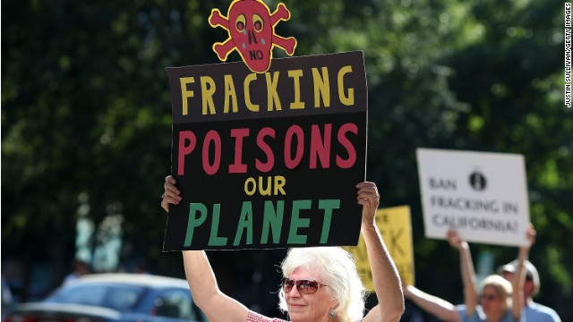People protest fracking outside  the California Environmental Protection Agency in Sacramento last year.