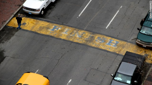 The Boston Marathon's finish line has yet to be removed from Boylston Street, which reopened a week after the twin bombings.