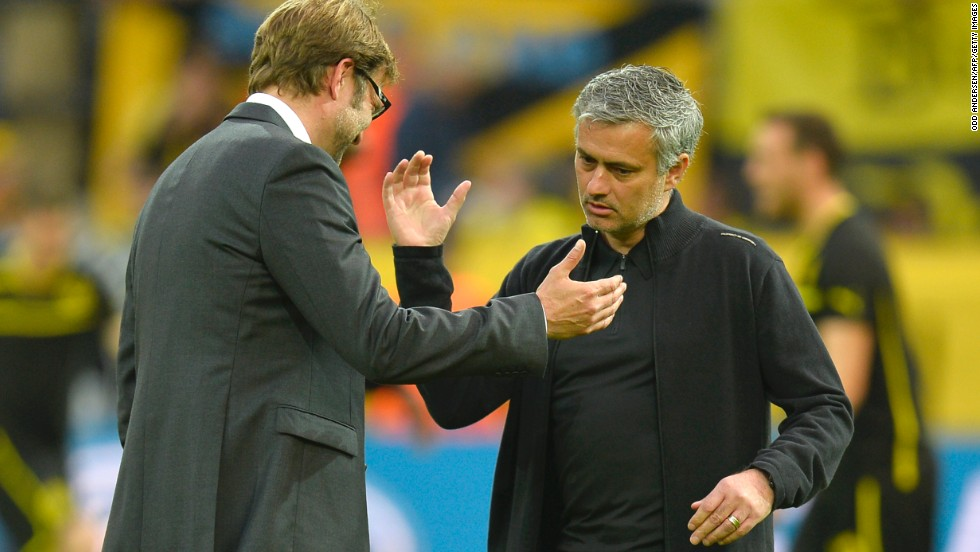 Dortmund coach Jurgen Klopp and Real boss Jose Mourinho had a pre-match chat on the field while their teams went through the warm-up ahead of the tie.
