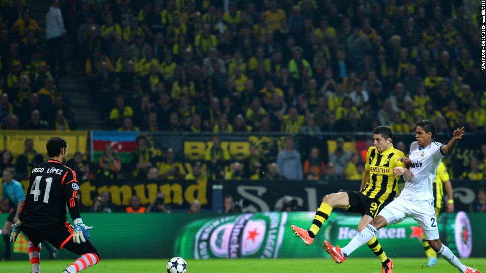 Dortmund regrouped at half-time and Lewandowski turned home his second of the night five minutes into the second half after escaping the Real offside trip.