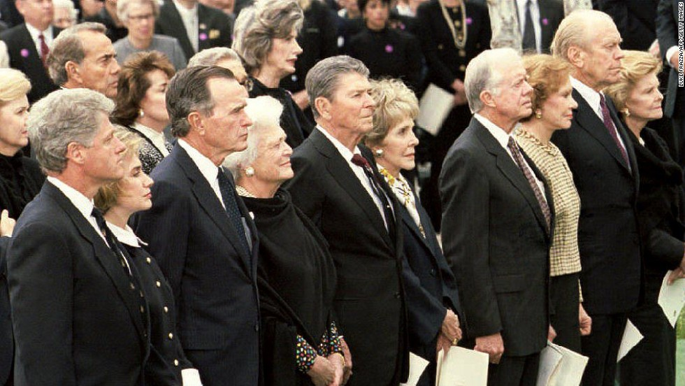 Bill Clinton, George H.W. Bush, Ronald Reagan, Jimmy Carter and Gerald Ford all attended the funeral of President Richard Nixon in Yorba Linda, California, on April 27, 1994.