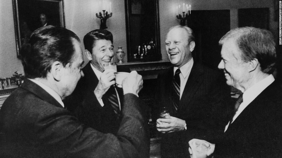 Richard Nixon, Ronald Reagan, Gerald Ford and Jimmy Carter share a light moment in 1981.