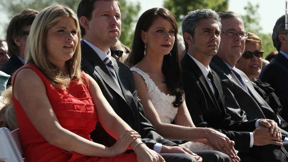 George W. Bush's daughter Jenna Bush Hager, her husband Henry Hager, sister Barbara Bush, her boyfriend Miky Fabrega, former governor of Florida Jeb Bush, and his wife Columba Bush attend the opening ceremony.