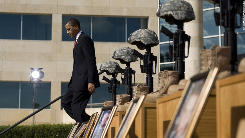 "Thirteen people were shot and killed by Maj. Nidal Hasan at Fort Hood in November 2009. Speaking to an estimated 15,000 people at a memorial service, Obama called the act ""incomprehensible"" and vowed that justice would be done."