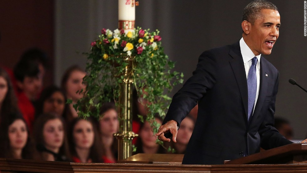 Obama speaks at the Cathedral of the Holy Cross following the Boston Marathon bombings that killed three people and injured at least 264 in April 2013. Suspect Tamerlan Tsarnaev was killed during an encounter with police, and his brother, Dzhokhar Tsarnaev, was sentenced to death.