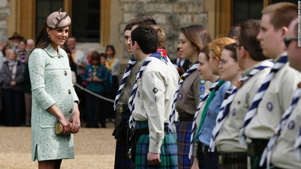 Catherine attends the National Review of Queen's Scouts at Windsor Castle on April 21.