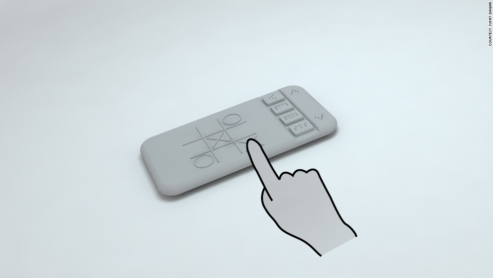 The pins move up and down to form Braille shapes when the phone receives a text or email.