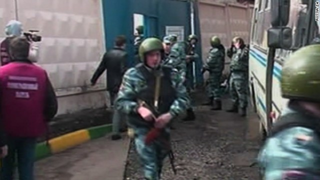 Members of Russia's Federal Security Service, or FSB, carried out the raid along with police.