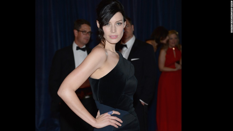 "Actress Jessica Pare, from ""Mad Men,"" arrives on the red carpet."