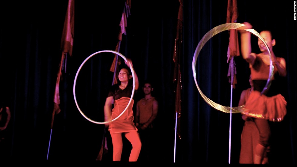 The Circus Kathmandu company is made up of nine women and four men and they train about four hours a day.