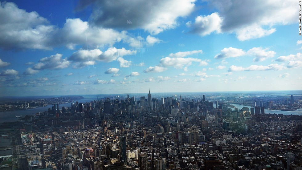 Manhattan is seen from One World Observatory from the 100th floor of 1 World Trade Center on April 2.
