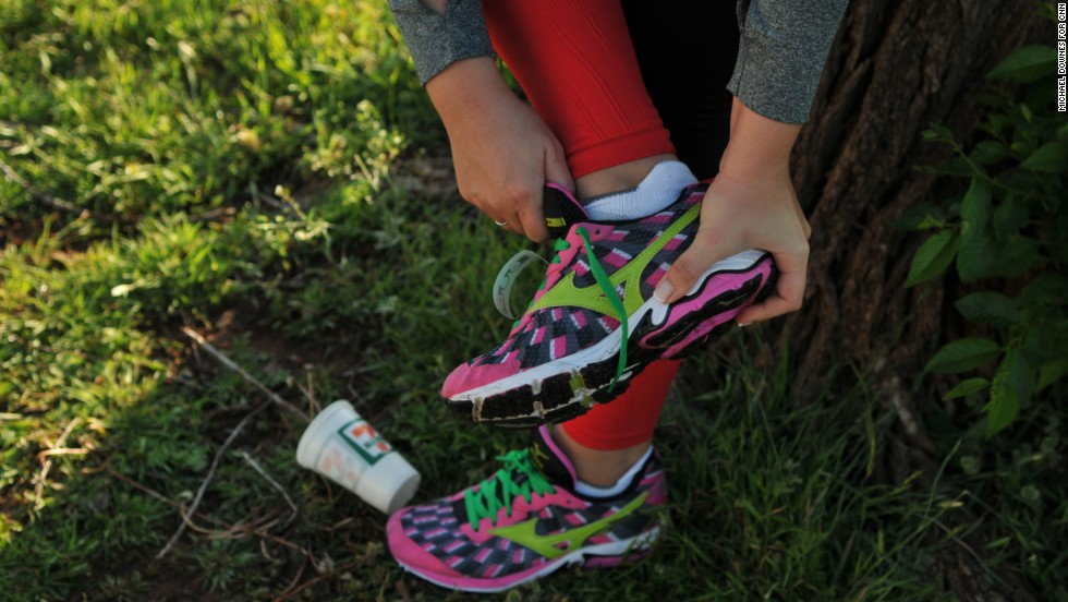Runners at the Oklahoma City Memorial Marathon wore red socks and leggings in honor of Boston. Green shoe laces honored Oklahoma City.