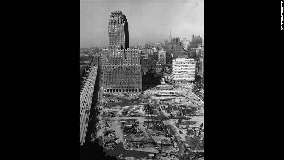 Ground was broken for the World Trade Center in August 1966. In 1967, the site was cleared for the twin towers alongside the Hudson River in Lower Manhattan. The first tenants of One World Trade Center, the north tower, moved in in late 1970.