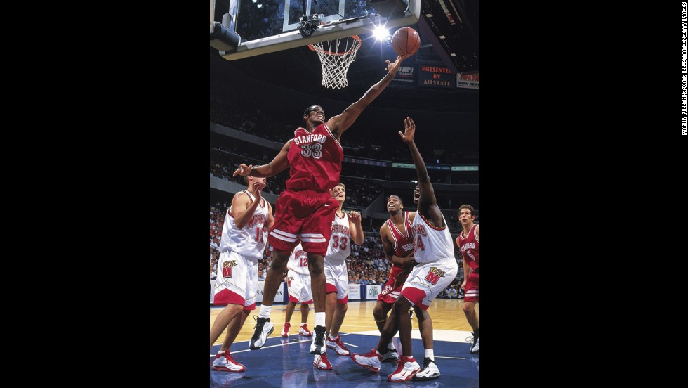 Jason Collins, who played with the NBA's Washington Wizards this season, has disclosed that he is gay, making him the first active openly homosexual athlete in the four major American pro team sports. Collins (No. 33) played college ball for Stanford, here against Maryland in 1998. He has been in the NBA for 12 seasons.