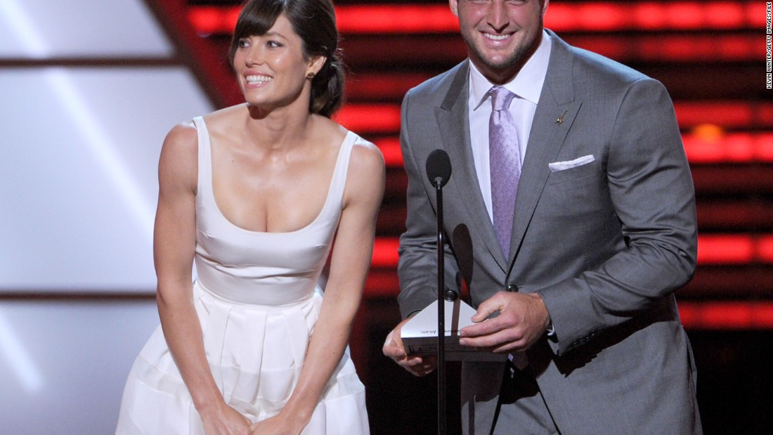 Tebow and actress Jessica Biel present an award during the 2012 ESPYs in Los Angeles.
