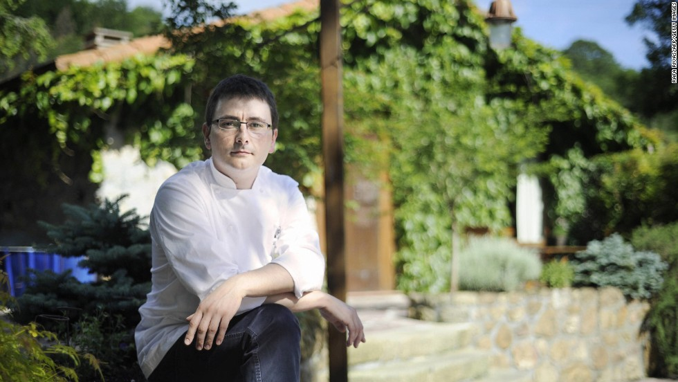 Andoni Luis Aduriz poses in front of his number four restaurant, Mugaritz, in the northern Basque village of Errenteria.
