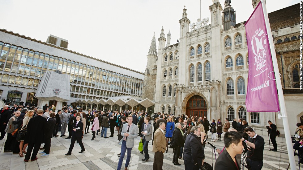 "Chefs and restaurateurs arrive at London's Guildhall for the unveiling of Restaurant magazine's ""World's 50 Best Restaurants"" list."